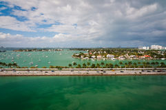 Bird-s-eye view of MarArthur causeway and Palm Island Royalty Free Stock Image