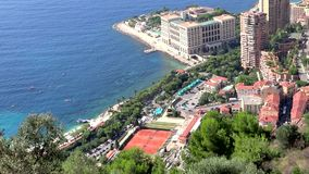 Bird's eye view of montecarlo beach and tennis Royalty Free Stock Photography