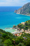 Bird`s-eye view of Monterosso al mare, Cinque Terre National Par Royalty Free Stock Photography