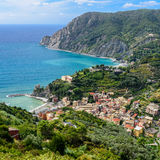 Bird`s-eye view of Monterosso town, Cinque Terre, Italy. Royalty Free Stock Images