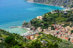 Bird`s-eye view of Monterosso town, Cinque Terre, Italy. Stock Image