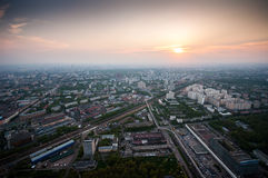 Bird's eye view of Moscow at dawn Royalty Free Stock Photography
