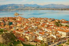 Bird's-eye view of Nafplion center Royalty Free Stock Photos