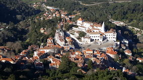 Bird`s eye view of the national palace, Sintra, Portugal Royalty Free Stock Image