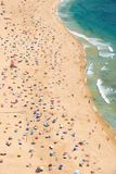 Bird`s-eye view on Nazare sandy beach riviera on the coast of At. Lantic ocean. Portugal Royalty Free Stock Image