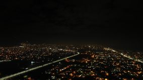 Bird`s eye view of the night city royalty free stock photos