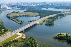 Bird`s-eye view of Novorizhskoye Shosse to Moscow stock images