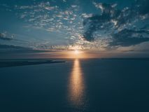 Bird's Eye View of Ocean During Sunset Stock Images