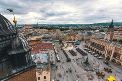 Bird`s-eye view old downtown of Krakow Stock Photography