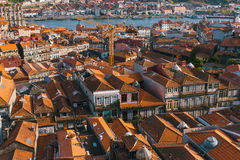 Bird`s-eye view old downtown of Porto and Douro river Royalty Free Stock Image
