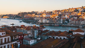 Bird`s-eye view old downtown of Porto and Douro river. Stock Photography