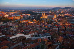 Bird`s-eye view old downtown of Porto at dusk Stock Image