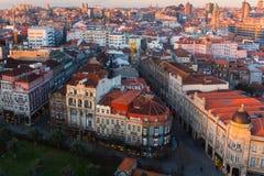Bird`s-eye view old downtown of Porto at dusk Royalty Free Stock Photo