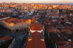 Bird`s-eye view old downtown of Porto at dusk, Portugal. Travel. Royalty Free Stock Image