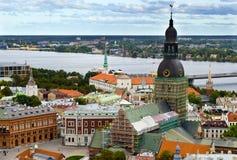 A bird's eye view on the old Riga city. Riga is a capital city of Latvian republic, Europe Stock Photo