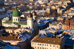 Bird's eye view of old town. Bird's eye view of the old part of Lviv, Ukraine Stock Photography