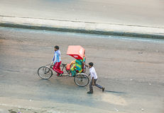Bird's eye view onto a rickshaw in Jaipur Stock Image