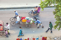 Bird's eye view onto rickshaws in Jaipur Stock Photos