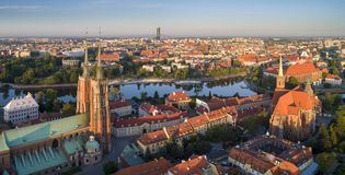 A bird`s eye view of Ostrow Tumski, the river and the southern part of the city. Wroclaw, Poland stock photos