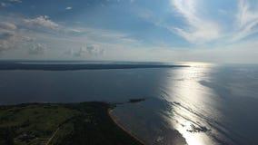 bird's eye view of the Pakri peninsula and wind turbines. Royalty Free Stock Photo