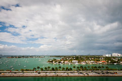 Bird's eye view of Palm island and MacArthur causeway stock images