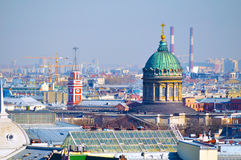 Bird`s-eye view panorama of St Petersburg, Russia. Stock Image