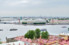 Bird's eye view panorama of the Vasilyevsky Island and water area of Neva river  in Saint Petersburg, Russia Royalty Free Stock Photography