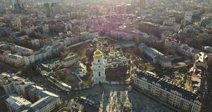 A bird`s eye view, panoramic video from the drone in 4K to the Saint Sophia`s Cathedral, Sofiyivska Square in the city. Aerial panoramic video from the drone stock video footage