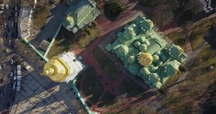 A bird`s eye view, panoramic video from the drone in 4K to the Saint Sophia`s Cathedral, Sofiyivska Square, Kiev. Aerial panoramic video from the drone, bird`s stock video
