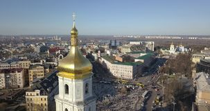 A bird`s eye view, panoramic video from the drone in 4K to the Saint Sophia`s Cathedral, Sofiyivska Square, left bank of. Aerial panoramic video from the drone stock video footage