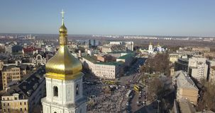 A bird`s eye view, panoramic video from the drone in 4K to the Saint Sophia`s Cathedral, Sofiyivska Square, left bank of. Aerial panoramic video from the drone stock video