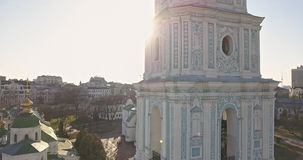 A bird`s eye view, panoramic video from the drone in 4K to the Saint Sophia`s Cathedral-the bell tower and main building. Aerial panoramic video from the drone stock video