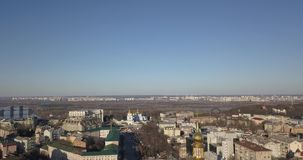 A bird`s eye view, panoramic video from the drone in 4K to the Saint Sophia`s Cathedral, Friendship of Nations Arch. Aerial panoramic video from the drone, bird` stock video footage