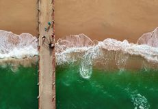 Bird's Eye View of People On Boardwalk stock images