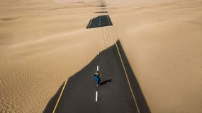 Bird's Eye View Photography of Road in the Middle of Desert stock photo