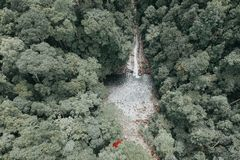Bird's-eye View Photography Waterfalls Surrounded by Trees stock image