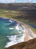 Bird's eye view at the picturesque beach. Bay and hills on Hoy Island, Orkney, Scotland royalty free stock images