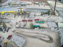 Bird's eye view on plant of construction materials Royalty Free Stock Photography