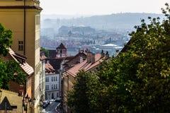 Bird's-eye view on the Prague panorama and street stock photography