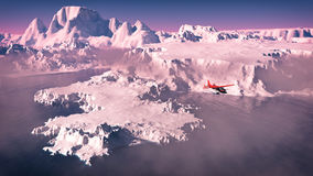 Bird's eye view of red airplane flying over icebergs with ocean at sunris Stock Photo