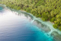 Aerial of Tropical Island and Fringing Reef in Papua New Guinea. A bird`s eye view of the remote island of New Ireland in Papua New Guinea and a healthy fringing royalty free stock images