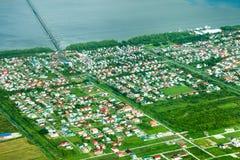 Bird`s-eye view of the Republic Park area, Georgetown suburb, Demerara Harbour Bridge stock photo