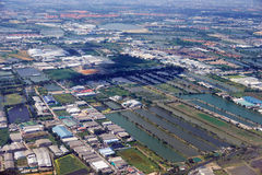 Bird's-eye view on  rice fields Bangkok vicinity Royalty Free Stock Photos
