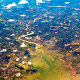 The bird's-eye view of a river. With white cloud in the sky Royalty Free Stock Photo