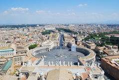 Bird's eye view of Rome. The photograph of the St. Peter`s square and big part of Rome, taken from he St. Peter`s Basilica Dome Royalty Free Stock Image