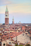 Bird's eye view on roofs of Venice at sunset Stock Photo