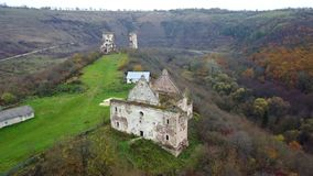 A bird`s eye view of the ruined church and the ruins of the Chervonohorod Castle. Ukraine stock video footage