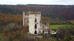 A bird`s-eye view of the ruins of the Chervonohorod Castle and the ruined church. Ukraine stock video footage