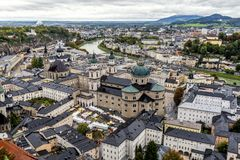 The bird& x27;s eye view of Salzburg. The bird& x27;s eye view of the famous Salzburg in Austria Royalty Free Stock Photography