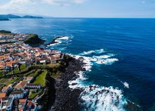 Bird`s eye view of the San Miguel island coasts. Bird`s eye view of the San Miguel island coasts, Azores - Portugal stock image